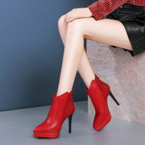 Fashion women's shoes winter 2019 zipper stilettos heels heel-height 11cm elegant women's boots short boots waterproof leather