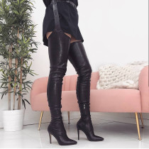 Fashion women's shoes sexy pure color black leather stilettos heels pointed toe women's boots over the knee thigh high boots pants boots size 41