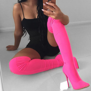 Fashion women's shoes spring pointed toe stilettos heels elegant women's boots slip-on sexy over the knee  thigh high orange yellow stretch boots 40 41