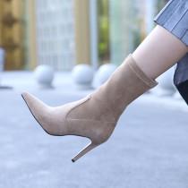 Fashion women's shoes in winter 2019 pointed toe stilettos heels zipper khaki women's boots short boots elegant pure color