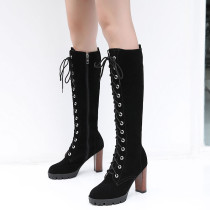 Fashion women's shoes in winter 2019 round toe chunky heels knee high boots cross lacing heel-height 9cm concise pure color