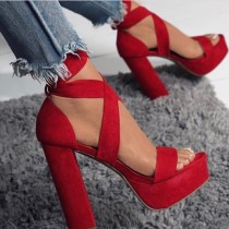 summer platform chunky heels red blue sandals black suede ankle strappy peep toe sexy ladies women's shoes
