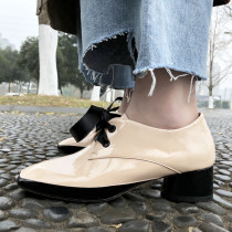 Spring and autumn pink 2019 fashion women's shoes cross lacing chunky heels pure color concise mature office lady leather