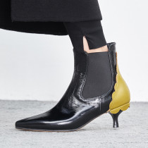 Fashion women's shoes 2019 pointed toe genuine leather stilettos heels zipper women's lower heels 5cm ruffles boots mixed colors size 33