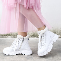 Fashion women's shoes in winter 2019 cross lacing personality casual shoes add wool upset big size 40 white pure color zipper