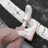 Fashion women's shoes in winter 2019 round toe short boots add wool upset slip-on snow boots crystal rhinestone personality