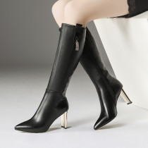 Fashion women's shoes in winter 2019 pointed toe chunky heels women's boots zipper pure color mature black leather size 33 43