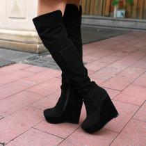 Arden Furtado fashion women's shoes in winter 2019 round toe platform zipper heels height 12cm black concise mature office lady