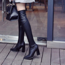 Fashion women's shoes in winter 2019 pointed toe chunky heels zipper over the knee high boots pure color concise mature
