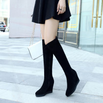 Fashion women's shoes in winter 2019 zipper round toe over the knee high boots pure color increase black concise mature