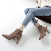 Fashion women's shoes in winter 2019 pointed toe zipper chunky heels pure color short boots matte small size 33 big size 40