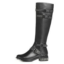 Arden Furtado fashion women's shoes winter 2019 zipper buckle knee high boots rivet genuine leather knee high boots