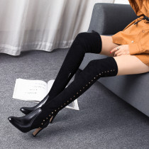 Arden Furtado fashion women's shoes in winter 2019 pointed toe stilettos heels zipper over the knee high boots concise mature