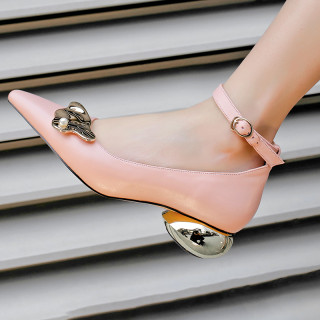 Arden Furtado summer 2019 fashion trend women's shoes buckle pumps strange style heels metal concise decoration office lady