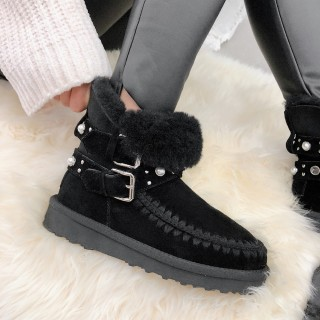 Fashion women's shoes winter 2019 round toe pearls flat platform snow boots large size