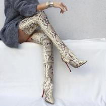 Arden Furtado 2019 spring autumn sexy over the boots women's boots fashion serpentine stilettos heels 12cm zipper