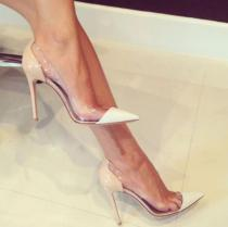 Fashion women's shoes zipper stilettos heels 12cm elegant clear pvc women's pumps ladies fashion sandals