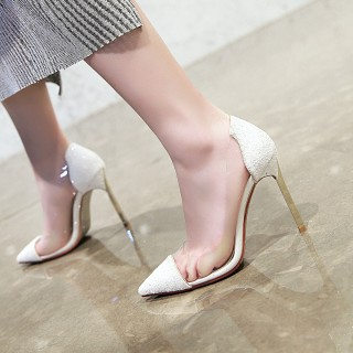 Arden Furtado summer 2019 fashion women's shoes pointed toe glitter white wedding shoes slip-on clear pvc stilettos pumps 32 33