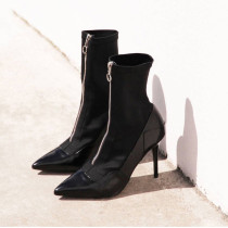 Arden Furtado spring and autumn 2019 fashion women's shoes pure color pointed toe office lady stilettos heels zipper sexy elegant  short boots