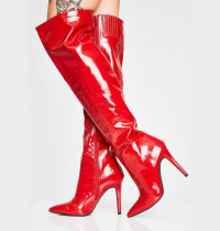 Arden Furtado fashion women's shoes in winter 2019 pointed toe stilettos heels red silver zipper big size 48 small size 33 over the knee high boots