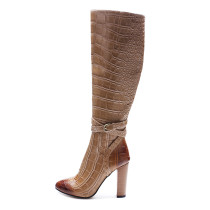 Arden Furtado fashion women's shoes in winter 2019 pointed toe chunky heels any color can be customized zipper pure color  big size 45 personality over the knee high boots buckle