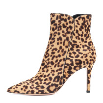 Arden Furtado fashion women's shoes in winter 2019 pointed toe stilettos heels zipper short boots concise office lady women's boots l big size 45 eopard print short boots