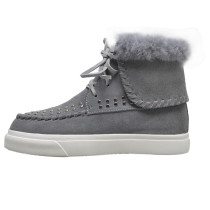 Arden Furtado fashion women's shoes in winter 2019 round toe flat boots short boots gray pure color concise mature big size 43