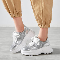 Arden Furtado spring and autumn 2019 fashion women's shoes cross lacing mature silver personality pure color gym shoes
