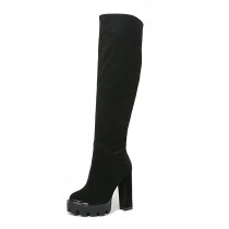 Arden Furtado fashion women's shoes in winter 2019 pointed toe chunky heels zipper over the knee high boots concise mature