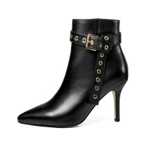 Arden Furtado fashion women's shoes in winter 2019 pointed toe stilettos heels zipper short boots buckle metal decoration
