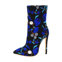 Arden Furtado spring and autumn 2019 women's shoes pointed toe stilettos heels zipper blue embroidery big size 48 short boots