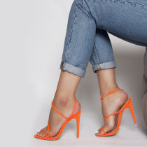 Arden Furtado summer 2019 fashion trend women's shoes sandals stilettos heels pure color orange concise narrow band office lady