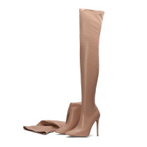 Arden Furtado fashion women's shoes 2019 pointed toe red grey color sexy elegant stilettos heels over the knee thigh high boots large size