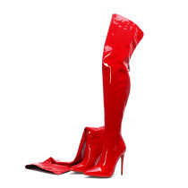Arden Furtado Europe and America fashion women's shoes  2019 pointed toe  sexy elegant stilettos heels red over the knee high boots