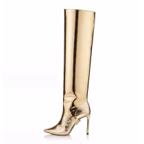 Arden Furtado spring and autumn 2019 fashion women's shoes pointed toe stilettos heels office lady classics leather slip-on gold knee high boots