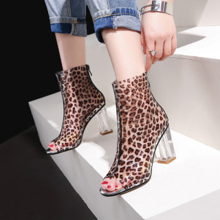 Arden Furtado summer 2019 fashion trend women's shoes chunky heels zipper small size 33 big size 45 peep toe leopard short boots print PVC
