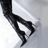Arden Furtado women's shoes pointed toe over the knee high boots stilettos heels black zipper thigh-high boots