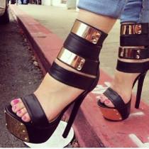 Arden Furtado summer 2019 black fashion trend women's shoes  stilettos heels zipper sandals big size 47 concise narrow band classics