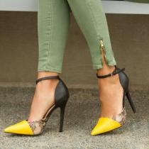 Arden Furtado summer 2019 fashion trend women's shoes pointed toe stilettos heels buckle sandals serpentine classics mixed colors sexy elegant