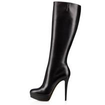 Arden Furtado fashion women's shoes in winter 2019 pointed toe stilettos heels zipper office lady big size 45 women's boots knee high boots