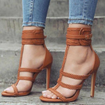 Arden Furtado summer 2019 fashion trend women's shoes weaving pure color joker Europe and America brown stilettos heels buckle joker party shoes sandals