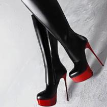 Arden Furtado fashion women's shoes in winter 2019 online celebrity red waterproof stilettos heels big size 47 party shoes  zipper knee high boots