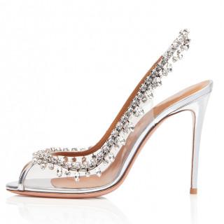 Arden Furtado summer  fashion women's shoes peep toe PVC slip-on silver elegant crystal rhinestone sandals