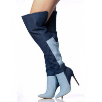 Arden Furtado fashion women's shoes  2019 pointed toe stilettos heels zipper mixed colors blue denim jeans over the knee high boots