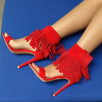 Arden Furtado summer 2019 fashion trend women's shoes party shoes  fringed sexy elegant red sandals ladylike temperament buckle