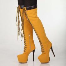 Arden Furtado fashion women's shoes in winter 2019 stilettos heels zipper platform cross lacing over the knee high boots