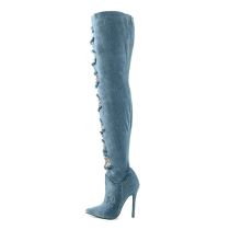 Arden Furtado fashion women's shoes  2019 pointed toe stilettos heels zipper blue denim jeans boots over the knee  thigh high boots