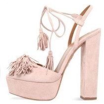 Arden Furtado summer 2019 fashion trend women's shoes peep toe pure color pink chunky heels party shoes  lace up sandals platform party shoes personality