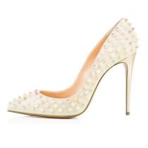 Arden Furtado summer 2019 fashion trend women's shoes pointed toe rivet pure color white serpentine pumps stilettos heels office lady slip-