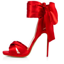 Arden Furtado summer 2019 fashion trend women's shoes stilettos heels lace up red sandals narrow band office lady party shoes ladylike temperament